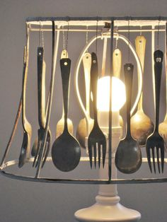 Amazing cutlery lampshade by Four Corners Design  LOVE a lamp in the kitchen!