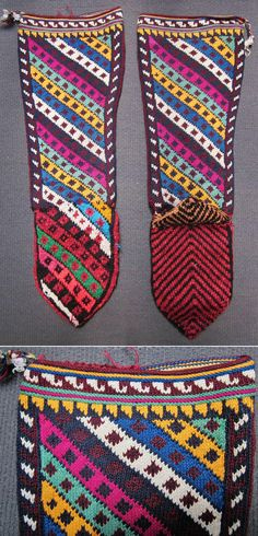 Traditional hand-knitted woollen socks, for men.  (Sometimes worn by women too).  From the Sivas province, late 20th century.  Design: 'onbaşı' (corporal's  stripes).  (Inv.nr. çor002 - Kavak Costume Collection - Antwerpen/Belgium).