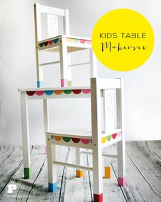 Kids Table Makeover with Stickers