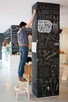 We could do this to our column. room divider painted black and decorated with white chalk