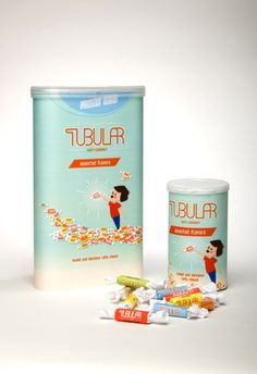Tubular Taffy's packaging matches their name!