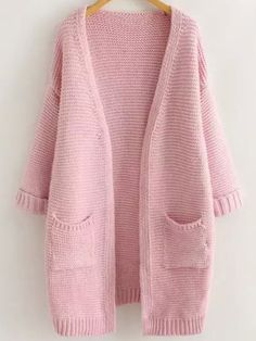 To find out about the Pink Long Sleeve Pockets Knit Loose Cardigan at SHEIN, part of our latest Sweaters ready to shop online today! Diy Fashion Accessories, Pink Cardigan, Everything Pink, Pink Love, Pullover, Printed Sweatshirts, Fall Winter Outfits, Cool Outfits, My Style