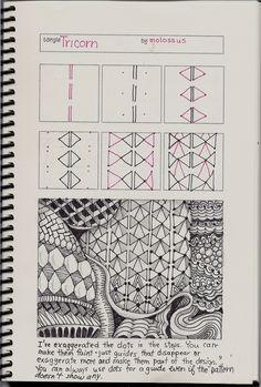 Life Imitates Doodles: New tangle pattern Tricorn & redo of K-ning