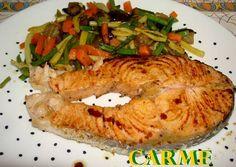 Salmón a la plancha con verduras salteadas Rico en Omega 3 . Alimenta tu #familia #aurelio #congelados