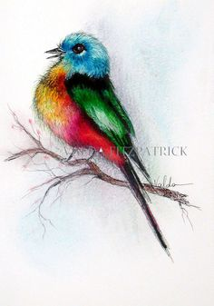 Small Eild Bird 5x7 print of original watercolor by valdasfineart