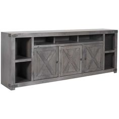 Give your home a farmhouse feel with an urban update with the Urban Farmhouse Console in Smoky Grey by Aspen Home. Available online or in store. Large Tv Stands, Aspen House, Farmhouse Living Room Furniture, House Furniture, Diy Furniture, Home Entertainment Centers, Urban Farmhouse, Farmhouse Decor, Flat Panel Tv