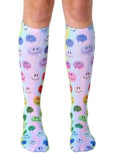 Melting Smiley Knee High Socks