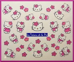 STICKERS ONGLES WATER DECAL (x34) - Nail art - Hello kitty - Fuchsia & blanc
