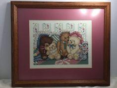 "Completed Teddy Bear Hugs Cross Stitch Aida Framed Matted 15"" X 13"" D Richardson"