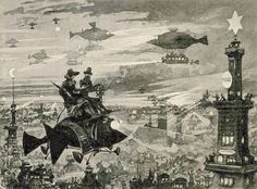 """Future Paris at Night - Albert Robida (1883) """"Le Vingtième Siècle,"""" Paris: Georges Decaux, 1883. #Steampunk"""