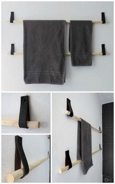 s& kan man selv lave en h& af en rundstok og en l& Bathroom Inspiration, Interior Inspiration, Diy Interior, Interior Design, Towel Hanger, Towel Racks, Hanger Rack, Creation Deco, Diy Furniture