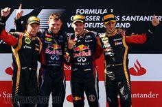 Nagy volt az öröm a dobogón, ami ugyanúgy festett, mint Bahreinben. Vettel először nyert hazájában, Räikkönen utoljára Barcelonában pezsgőzhetett a pódiumon