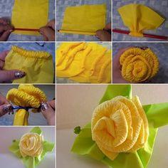 Beautiful Paper Napkin Roses to Decorate Your Dinner Table  - http://www.amazinginteriordesign.com/beautiful-paper-napkin-roses-decorate-dinner-table/