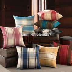 Quality Thick England British Style Plaid Decorative Pillow Covering Throw Sofa Seat Car Cushion Cover Black Red Blue PinkYellow #Affiliate