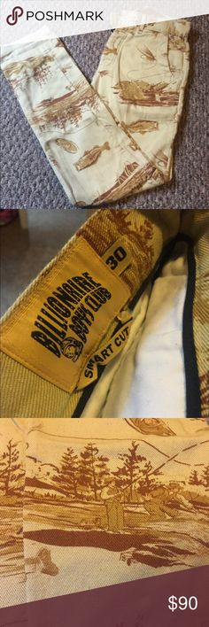 Billionaire boys club chino pants men's Khaki colored pants with fishermen and fish designed on them. Authentic BBC pants!! Good condition no stains or rips!! Size 30 smart cut. OFFERS WELCOME Billionaire Boys Club Pants Chinos & Khakis