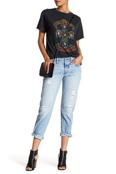 Appliqu?d Distressed Boyfriend Jeans - Mid denim Gucci KUaqiDr