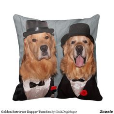 Golden Retriever Dapper Tuxedos Throw Pillow