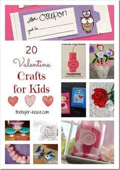 Valentine Ideas: 20 Kid Valentine Crafts