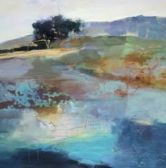 """Daily Painters Abstract Gallery: Contemporary Abstract Landscape Art Painting """"Fresh Horizons"""" by Intuitive Artist Joan Fullerton"""