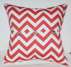 Coral Chevron Pillow. $40.00, via Etsy.