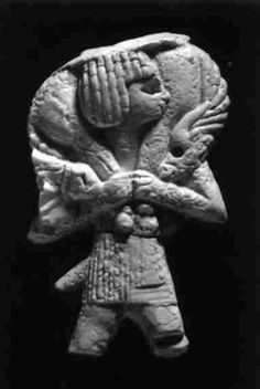 This piece is made of ivory, comes from Nimrud and dates to approximately 800 BC.