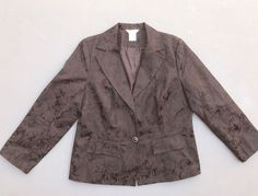 George Women's Plus Sz 16W Brown Career Blazer Jacket Floral Design Long Sleeve  | eBay