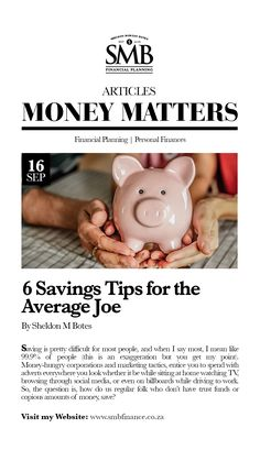 6 Savings Tips for the Average Joe Average Joe, Trust Fund, Marketing Tactics, I Got You, Money Matters, Financial Planning, Real People, Saving Tips, Piggy Bank