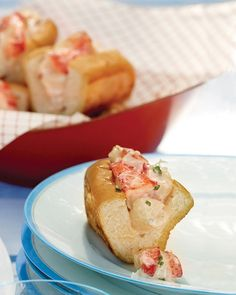 Mini Lobster Rolls - Martha Stewart Recipes. I may try these for Father's Day.