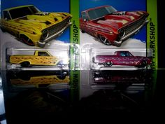 HOT WHEELS-2- 2012 WORKSHOP HEAT FLEET   '65 FORD RANCHERO  1-RED ---1 YELLOW #HotWheels #FORD