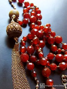 The Long Carnelian And Gold Tassel Necklace
