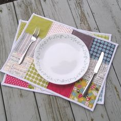 Quilted Placemat Set Cheerful and Bright via Etsy