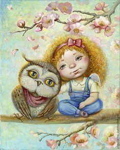 DIY Diamond embroidery cartoon girl and owl icons rhinestones diamond mosaic patterns diamond painting Cross Stitch kits Owl Artwork, Paper Owls, Owl Cartoon, New Fantasy, Naive Art, Illustrations, Pictures To Paint, Cute Drawings, Cute Art