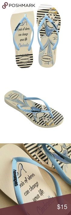 Disney Cinderella Havaianas Flip Flops Great condition. Size 9/10.  Let your inner princess shine with the Beige/Lavender Blue Slim Princesas Disney Flip Flop. This magical collection features Disney princesses Cinderella, Snow White, and Belle. Comfort and style are a perfect match thanks to our signature textured footbed. Havaianas Shoes Sandals