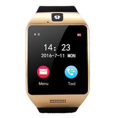 [$13.34] Q18S 1.54 inch IPS Screen MTK6260A Bluetooth 3.0 Smart Watch Phone, Pedometer / Sedentary Reminder / Sleeping Monitor  / Anti-Loss / Remote Camera / NFC / GSM / 0.3M Camera (Black + Gold)
