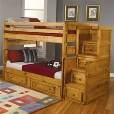 Fine Furniture Under bed Storage Full Full Bunk Bed w/ Stairway Chest
