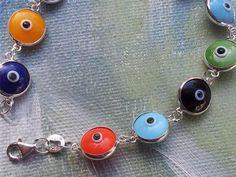 Evil eye bracelet sterling silver lucky jewelry colourful beads