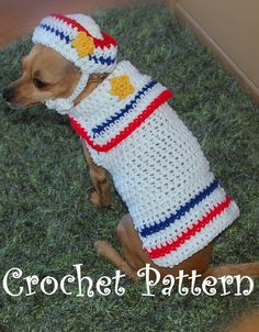 -Crochet Pattern Dog Sailor Sweater and Hat by poshpoochdesigns