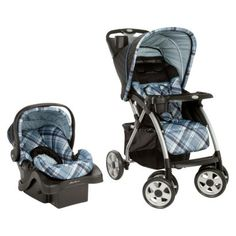 Eddie Bauer stroller/seat combo - this set is awesome and the stroller has a huge cargo area on the bottom and a compartment by the handles with a snapping lid. Love.