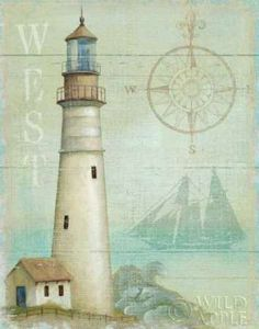West Coastal Light by Daphne Brissonnet Coastal Lighthouse Wall Art Print Framed Décor Decoupage Vintage, Decoupage Paper, Vintage Diy, Vintage Pictures, Vintage Images, Foto Transfer Potch, Lighthouse Art, Lighted Canvas, Beach Art