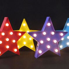 Carnival Stars Marquee Lights Fairground Star Lighting Bulbs - Handmade in solid metal. Wall mounted or free standing Lights with frosted cap effect white,warm - Long life LED Eco Lights Colors available - Red, Yellow & Blue x 19 x 5 cm Marquee Sign, Marquee Lights, Christmas Decorations, Holiday Decor, Christmas Trees, Light Letters, Red White Blue, Yellow, Stars And Moon