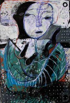 "Saatchi Art Artist Rusudan Khizanishvili ; Painting, ""Insect-Man"" #art"