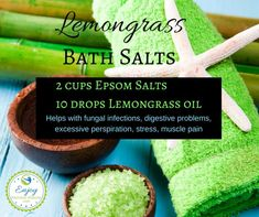 Lemongrass essential oil helps with fungal infections, digestive problems, excessive perspiration, stress, muscle pain and more. These lemongrass bath salts are the perfect way to relax at the end of the day and enjoy some added benefits!