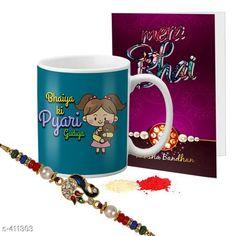 Rakhi Fancy Mug & Rakhi Combo Material: Mug: Ceramic                Rakhi: Beads/ Thread Size: Mug- 325 ml Description: It Has 1 Piece Of Mug 1 Piece Of Beautiful Greeting Card & 1 Piece Of Rakhi Country of Origin: India Sizes Available: Un Stitched, Free Size, Semi Stitched   Catalog Rating: ★4.1 (444)  Catalog Name: Rakhi Fest Special Greeting Cards & Mugs Combo Vol 2 CatalogID_44463 C77-SC1266 Code: 452-411303-525