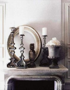 lovely gray vignette with urn