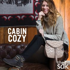 Cabin Cozy. Snuggle up with our textured accessories featuring knits, suedes and soft leathers. Shop the Look!