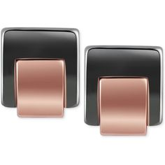 T Tahari Hematite-Tone Square Stud Earrings ($25) ❤ liked on Polyvore featuring jewelry, earrings, hematitie, t tahari, hematite jewelry, rose gold tone earrings, hematite earrings and t tahari jewelry