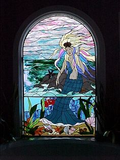 Mermaid Stained Glass -  my Dad's house