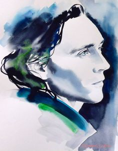 Loki Tom Hiddleston Original Watercolour Painting Portrait Thor Dark Blue Teal Indigo Fine Art Profile Artist: Kimberly Godfrey. Wow, good job!