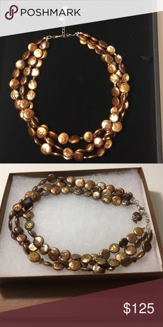 """Authentic Silpada Necklace Oh what a feeling!! The texture of this Copper Coin Pearl, Smoky Quartz and Sterling Silver Necklace will get you looks that make you feel your best. 16"""" with 2"""" Extender. Copper Coun Pearl accent and Lobster Clasp Silpada Jewelry Necklaces"""
