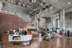 "Boston City Hall renovation preserves ""honesty"" of brutalist building Boston Architecture, Concrete Architecture, Urban Architecture, Boston City Hall, Entrance Lighting, Brutalist Buildings, Lighting Inc, Concrete Structure, Industrial Interiors"